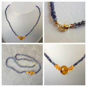 Collier ioliet, citrien, agaat en goud